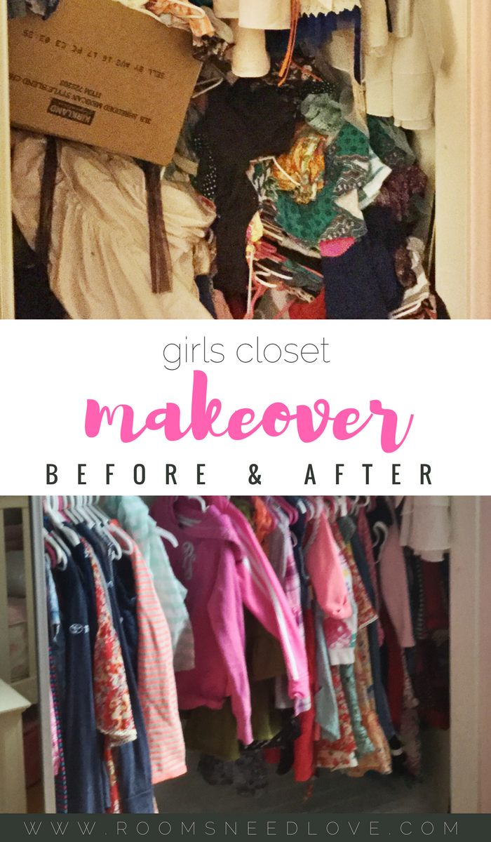 Girls Closet Makeover | Closet organization | Closet decluttering | Kids clothes organizing | organizing kids | Rooms Need Love