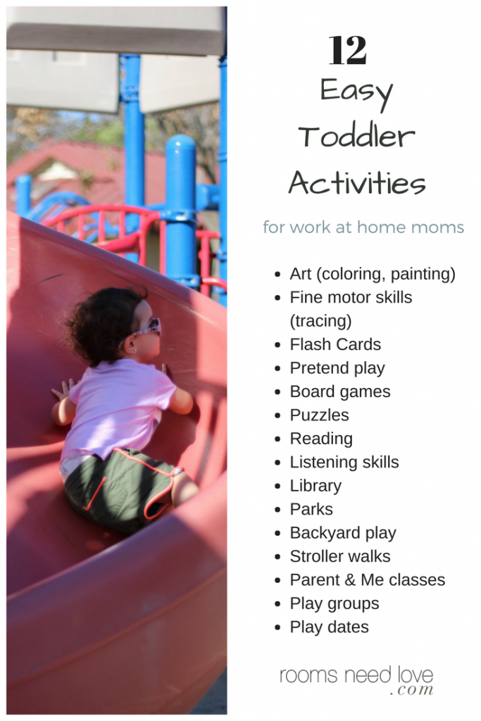 12 Easy Toddler Activities for Work at Home Moms | List of Activities | Rooms Need Love