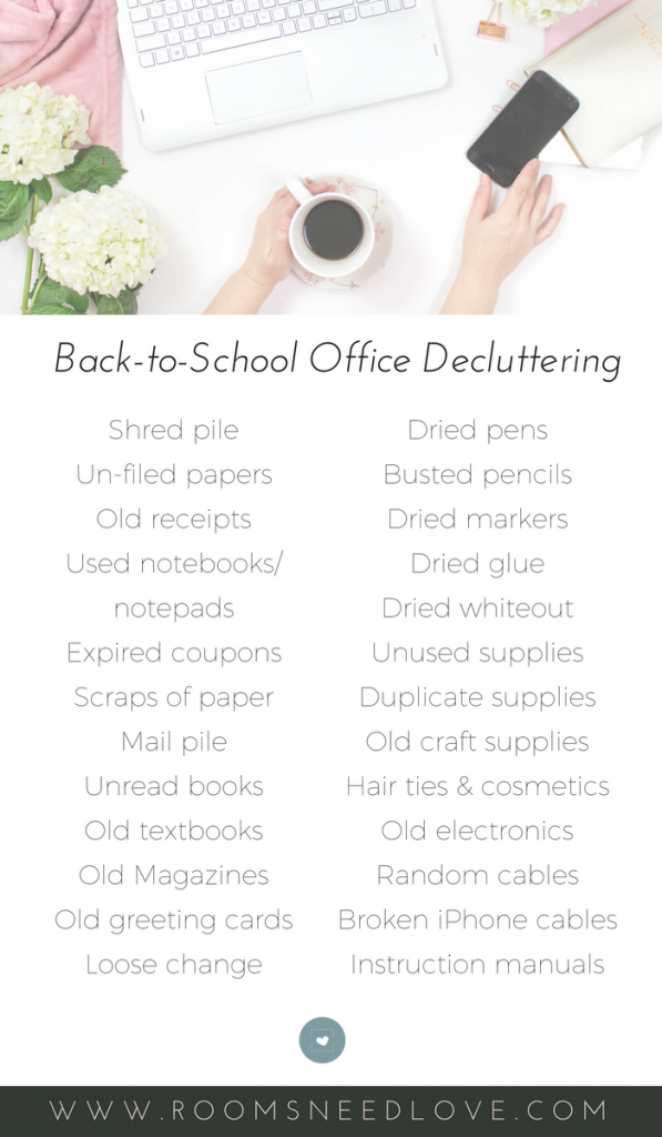 25 Things to Toss Right NOW - Back-to-School Office Decluttering   Purging   Organizing   Organizing Tips   Rooms Need Love