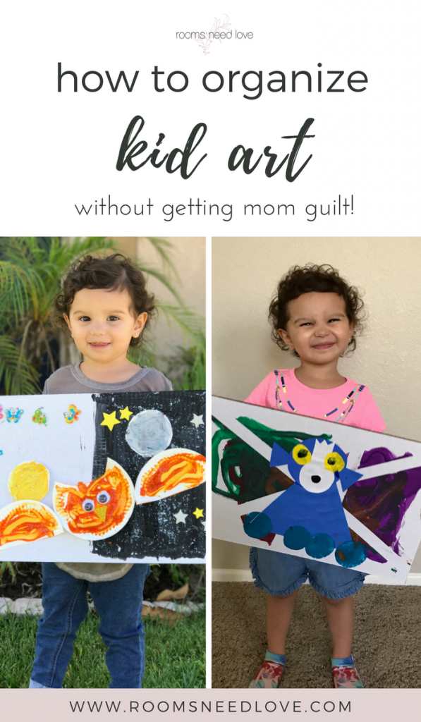 How to Organize Kid Art without getting mom guilt | kid art | kids organization | Rooms Need Love Blog