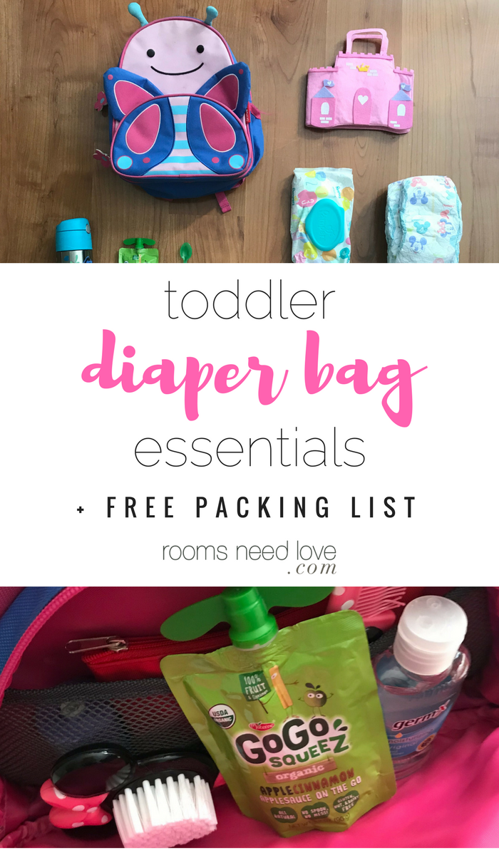 My Toddler Diaper Bag Essentials + free printable day trip checklist | Toddler Stuff | Diaper Bag | Kid Essentials | Cups | Snacks | Toys | Toddler Essentials | Kid | Children | Parenting | Motherhood | Mom | Mommy || Mama | Bag | Backpack| Diaper | Carrying | Essentials | Rooms Need Love Blog
